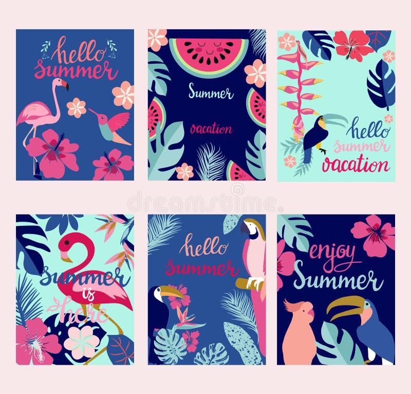 Cartes en liasse d'été, éléments avec des citations, calligraphie, fleurs, oiseaux illustration stock