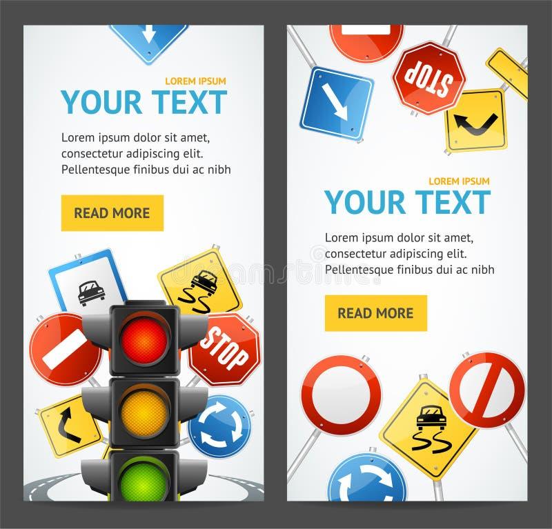 Cartes en liasse d'affiches de bannière d'insecte d'école d'entraînement de panneau routier Vecteur illustration libre de droits