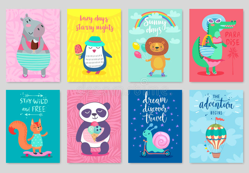 Cartes en liasse d'animaux, style tiré par la main, thème d'été illustration stock