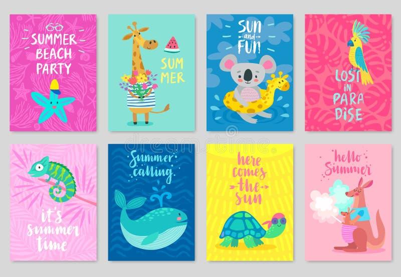 Cartes en liasse d'animaux, style tiré par la main, thème d'été illustration libre de droits