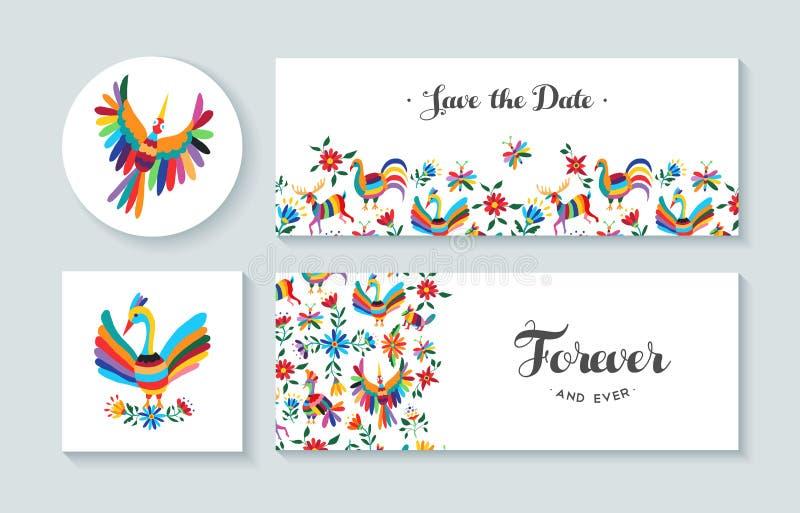Cartes en liasse d'invitation avec des illustrations de ressort illustration de vecteur