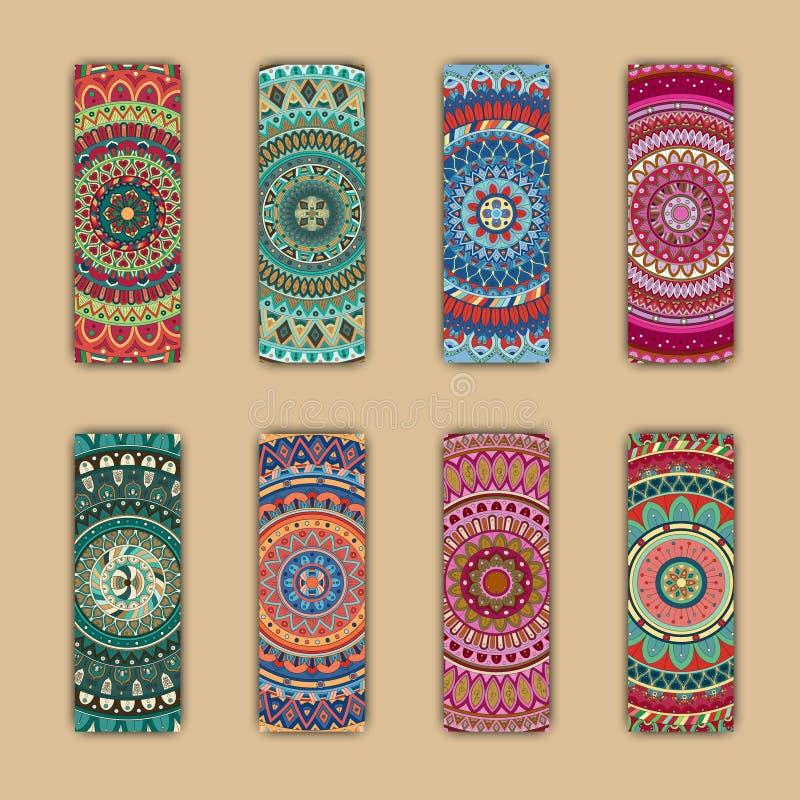 Download Cartes En Liasse De Bannière Avec Le Fond Décoratif Coloré Floral D'éléments De Mandala Illustration Stock - Illustration du fond, festive: 77157013