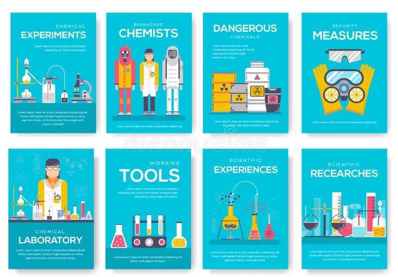 Cartes en liasse de brochure de chimistes de Biohazard calibre de laboratoire de chimie de flyear, magazine, affiche, couverture  illustration stock