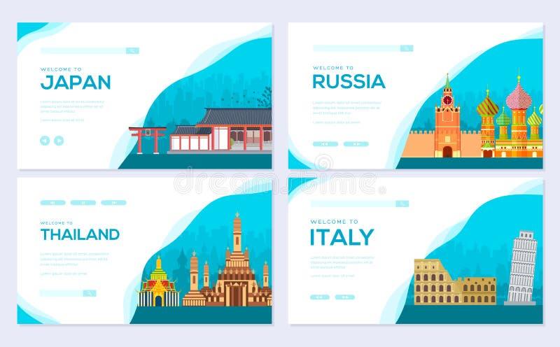 Cartes en liasse de brochure d'information de voyage Pays Japon, Russie, Thaïlande, Italie de paysage de calibre de flyear, banni illustration de vecteur