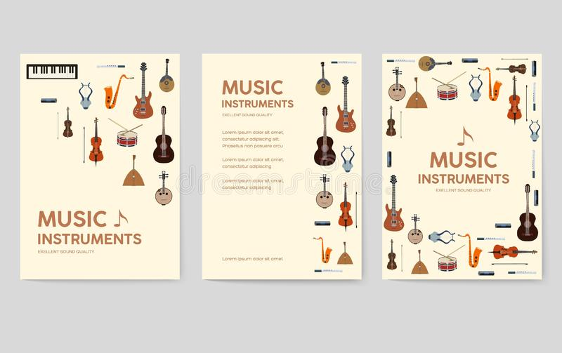 Cartes en liasse de brochure de vecteur d'instruments de musique L'audio usine le calibre de flyear, magazines, affiche, couvertu illustration stock