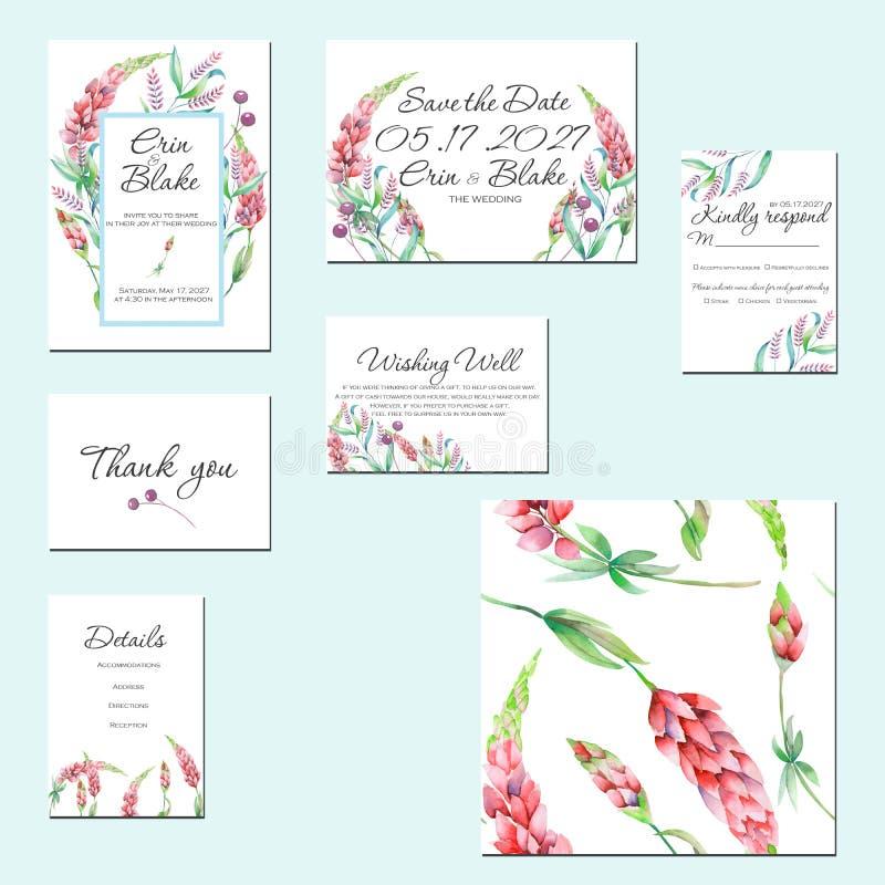 Cartes en liasse de calibre avec les fleurs de loup d'aquarelle et d'autres wildflowers illustration stock
