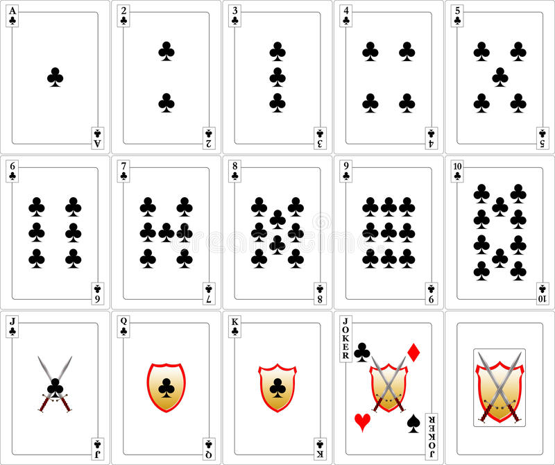 Cartes en liasse de jeu - clubs photo libre de droits