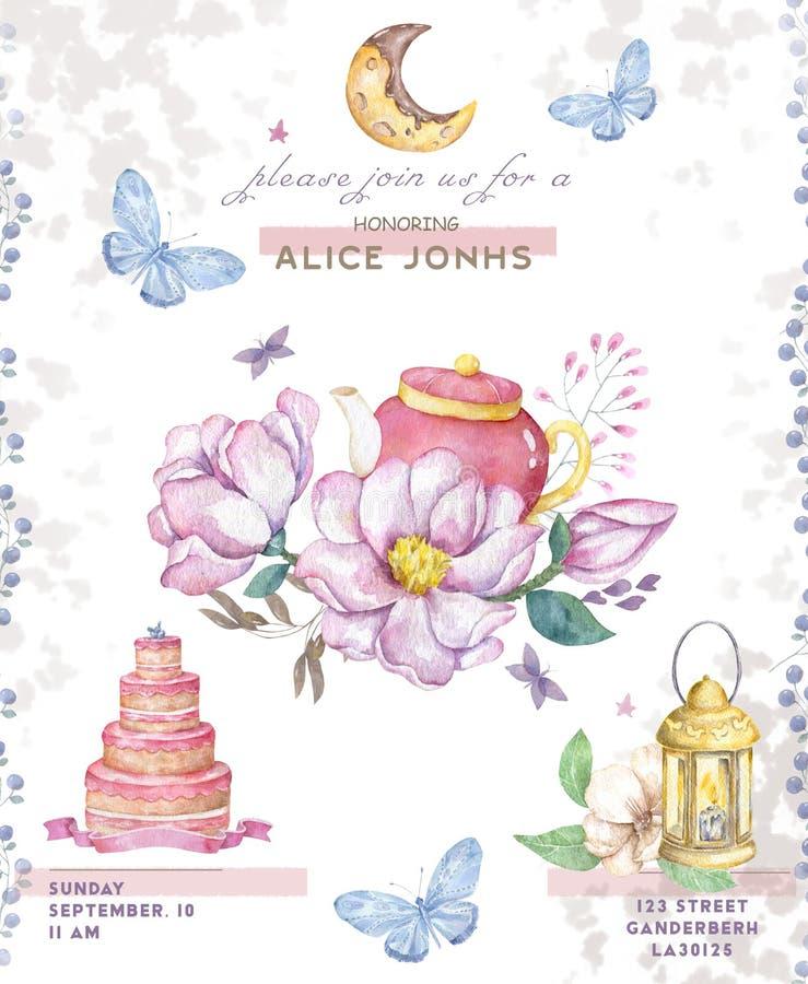 Cartes en liasse de joyeux anniversaire Illustrations colorées de célébration avec le gâteau d'anniversaire, les ballons et les é illustration de vecteur