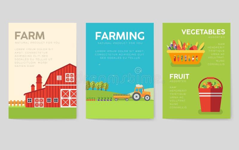 Cartes en liasse de l'information de ferme Calibre de nature de flyear, magazines, affiches, couverture de livre, bannières Conce illustration de vecteur