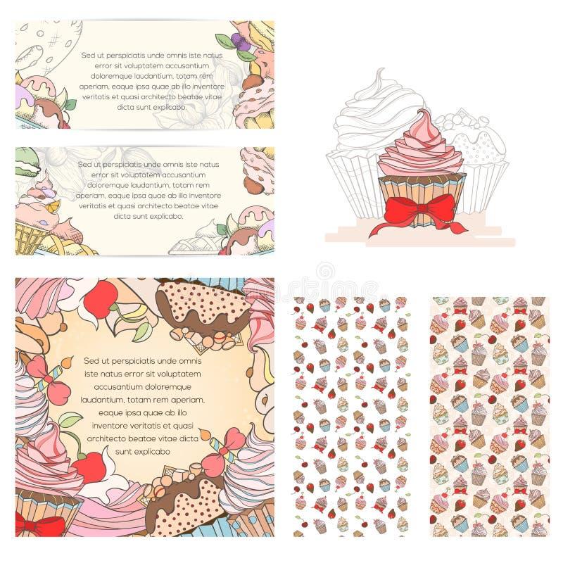 Cartes en liasse de petit gâteau illustration stock