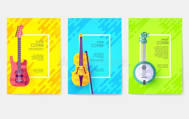 Cartes en liasse de vecteur d'instruments de musique L'audio usine le calibre de l'insecte, magazines, affiche, couverture de liv illustration libre de droits