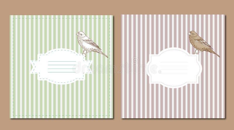 Cartes en liasse de vintage avec l'oiseau illustration de vecteur