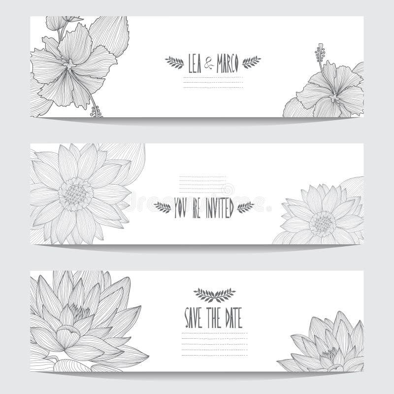 Cartes en liasse florales illustration libre de droits