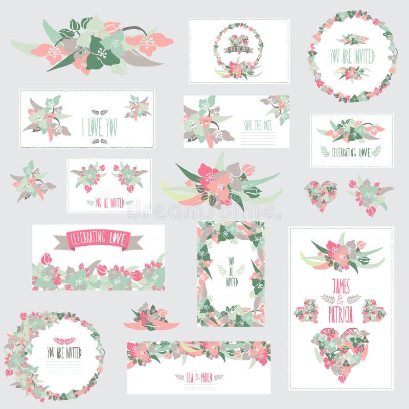 Cartes en liasse florales illustration stock