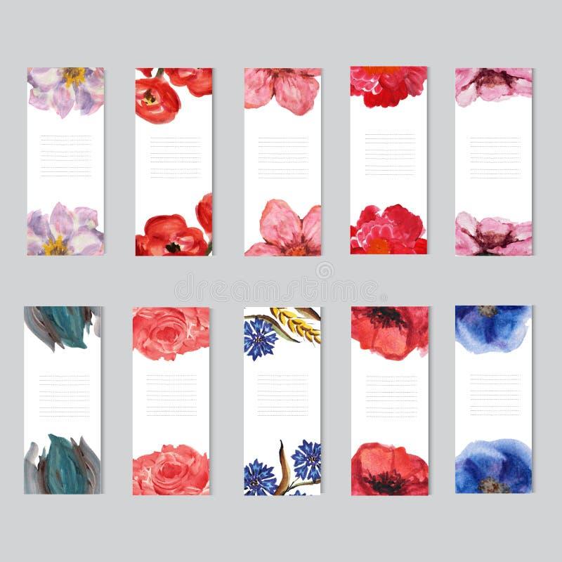 Cartes en liasse florales d'aquarelle illustration stock