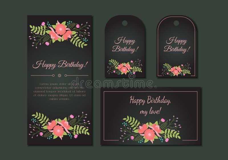 Cartes en liasse florales de vintage mignon illustration de vecteur