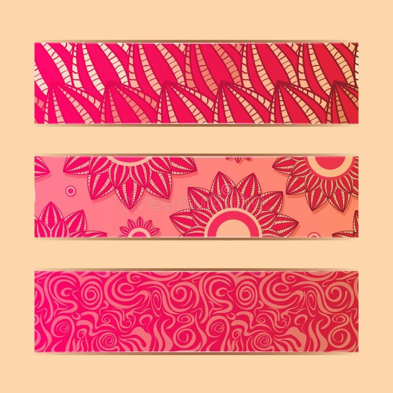 Cartes en liasse florales rouges de drapeau illustration de vecteur