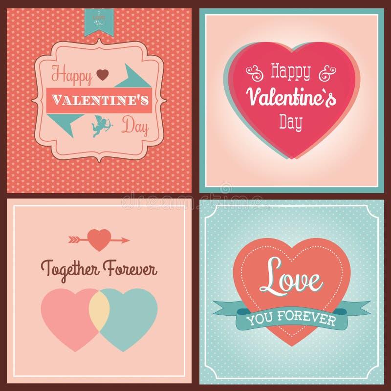 Cartes en liasse heureuses de jour de valentines illustration libre de droits