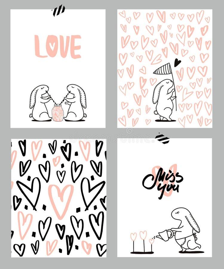 Cartes en liasse romantiques Quatre cartes de jour du ` s de Valentine avec le lapin et les coeurs mignons Illustration de vecteu illustration libre de droits