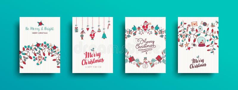 Cartes en liasse tirées par la main mignonnes de Noël et de nouvelle année illustration libre de droits