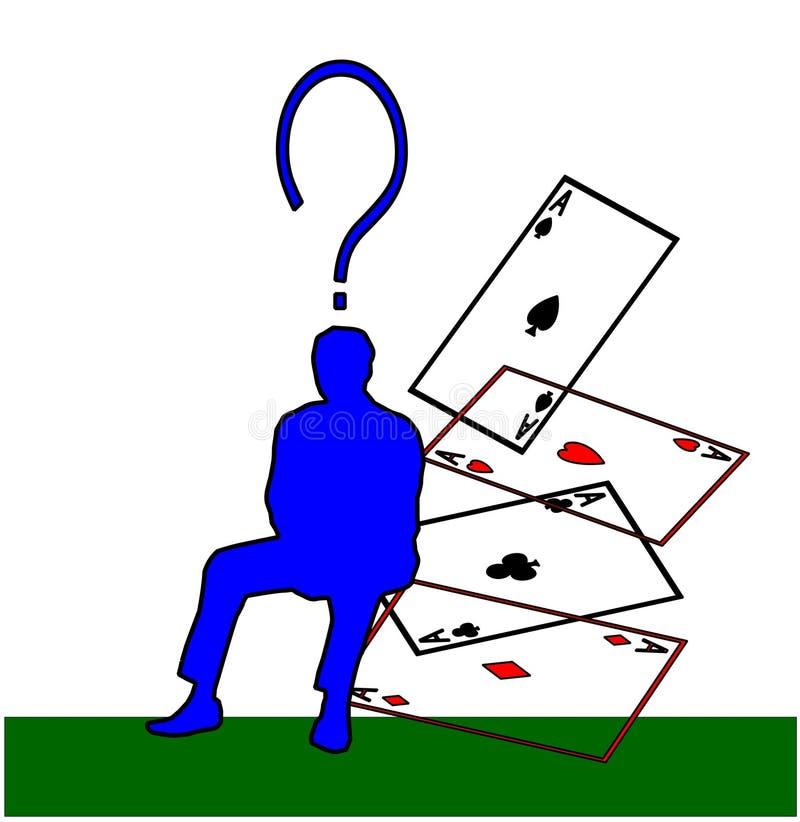 Cartes et questions de jeu illustration de vecteur