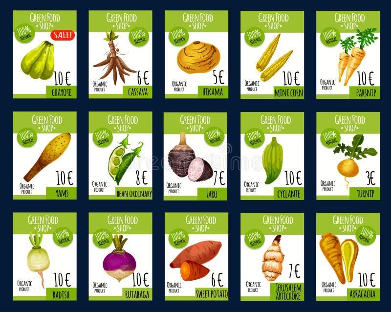 Cartes exotiques de prix du marché de ferme de vecteur de légumes illustration libre de droits