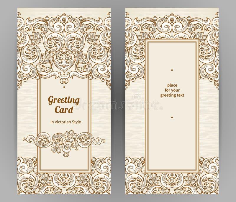 Cartes fleuries de vintage dans le style victorien illustration de vecteur