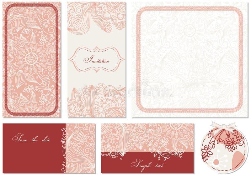Cartes florales élégantes illustration stock