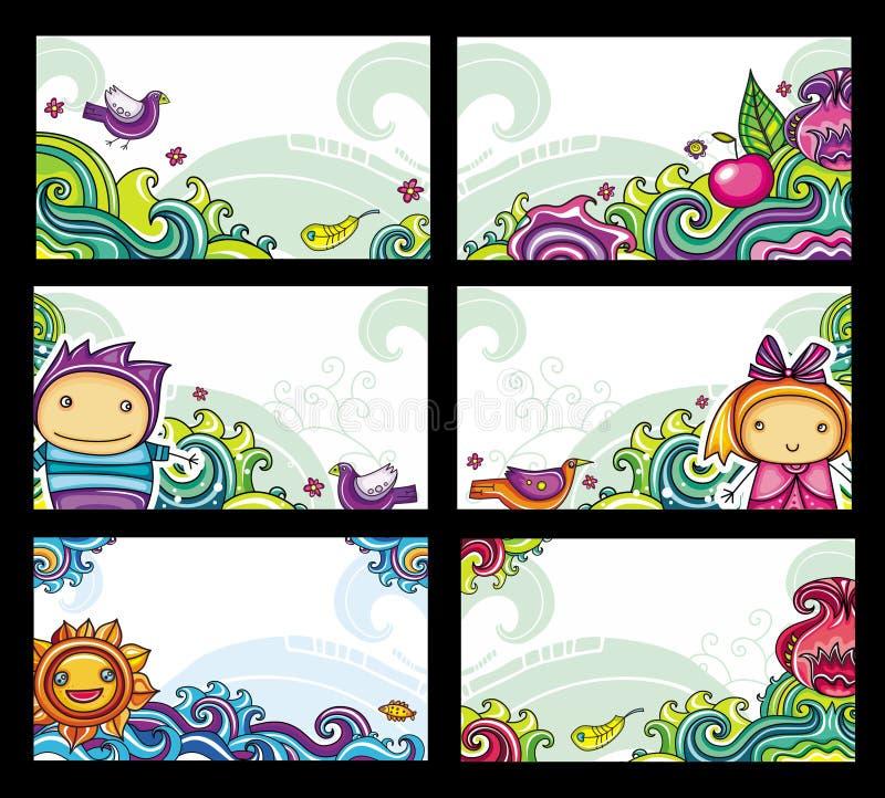 Cartes florales colorées illustration libre de droits