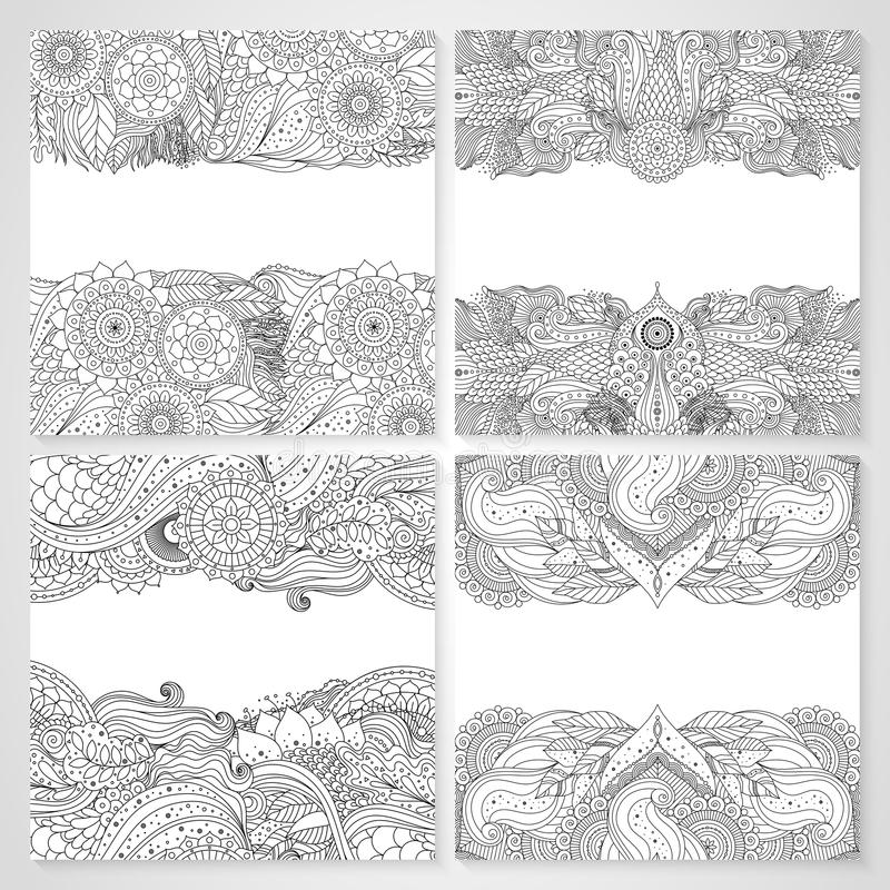 Cartes florales ethniques avec le mandala illustration de vecteur