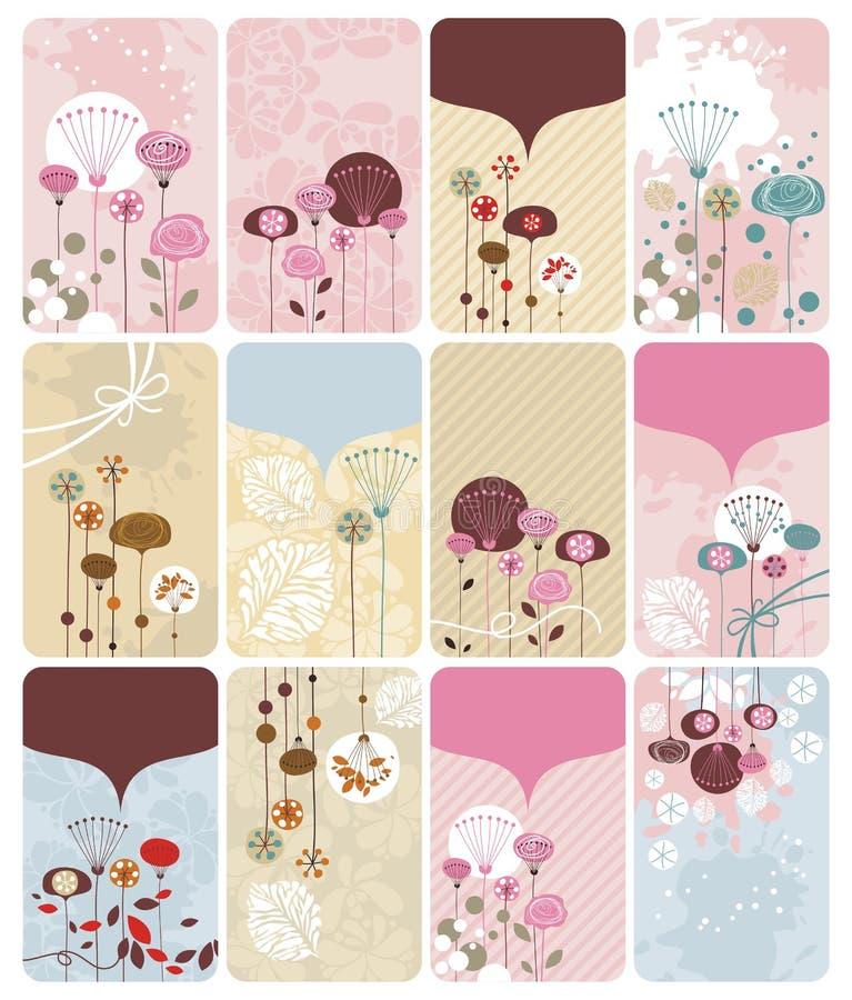 Cartes florales saisonnières de cadeau illustration libre de droits