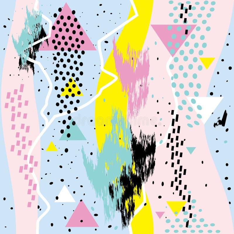 Cartes géométriques de Memphis d'éléments de withs chaotiques sans couture abstraits de modèle illustration libre de droits