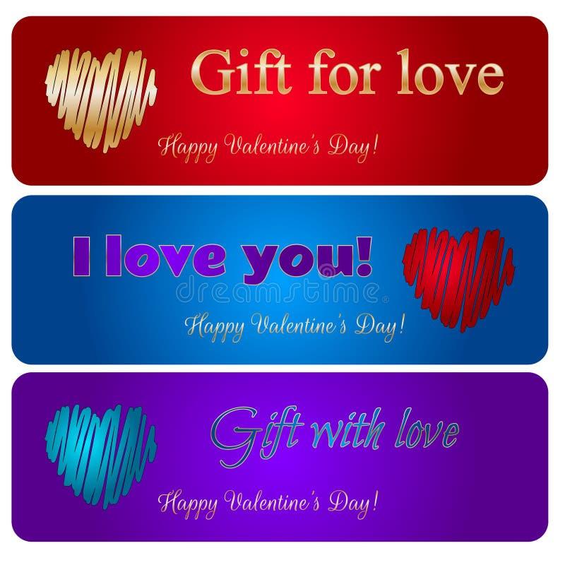 Cartes heureuses de coeurs de vecteur de Saint-Valentin illustration stock