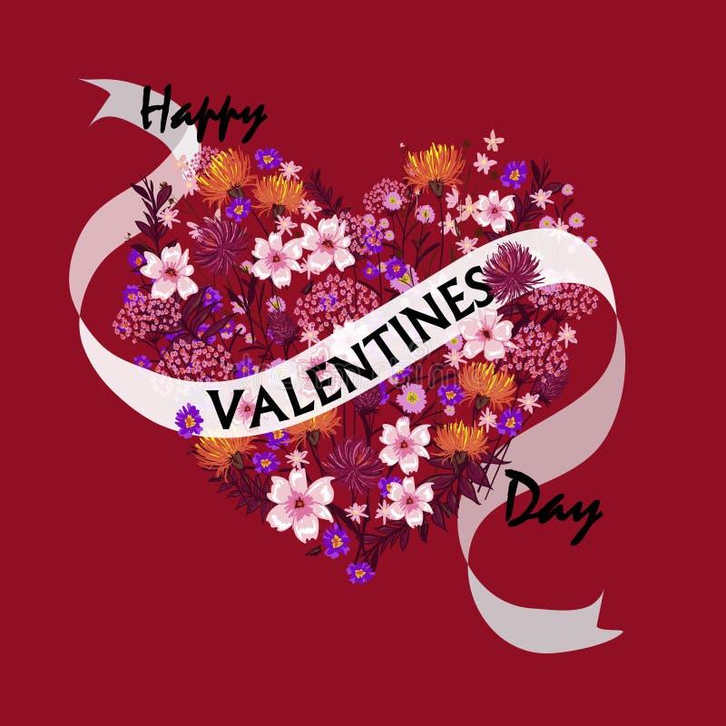 Cartes heureuses de jour de valentines avec des ornements, coeurs, cadre typogr illustration de vecteur