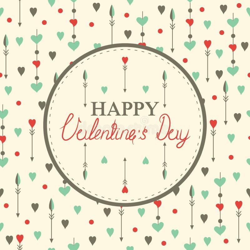 Cartes heureuses du jour de valentine avec des coeurs illustration de vecteur