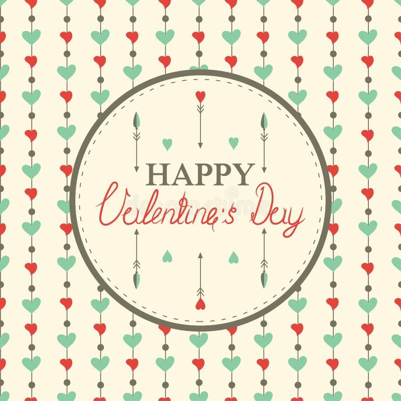 Cartes heureuses du jour de valentine avec des coeurs illustration stock