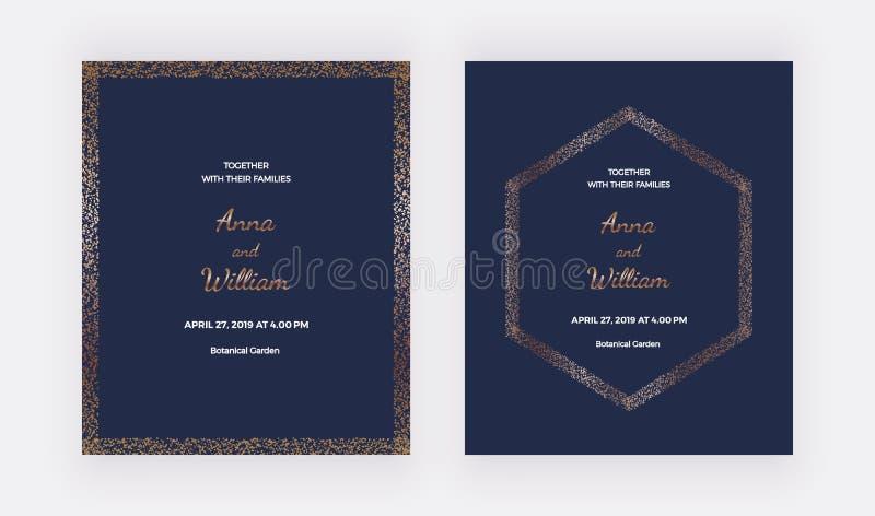 Cartes les épousant bleu-foncé d'invitation avec les frontières de confettis d'or et le cadre d'hexagone Calibres à la mode pour  illustration libre de droits