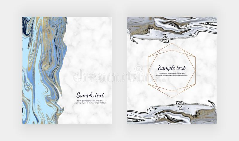 Cartes liquides de conception avec la texture de marbre Bleu, noir avec le fond de peinture d'encre d'or de scintillement Calibre illustration de vecteur