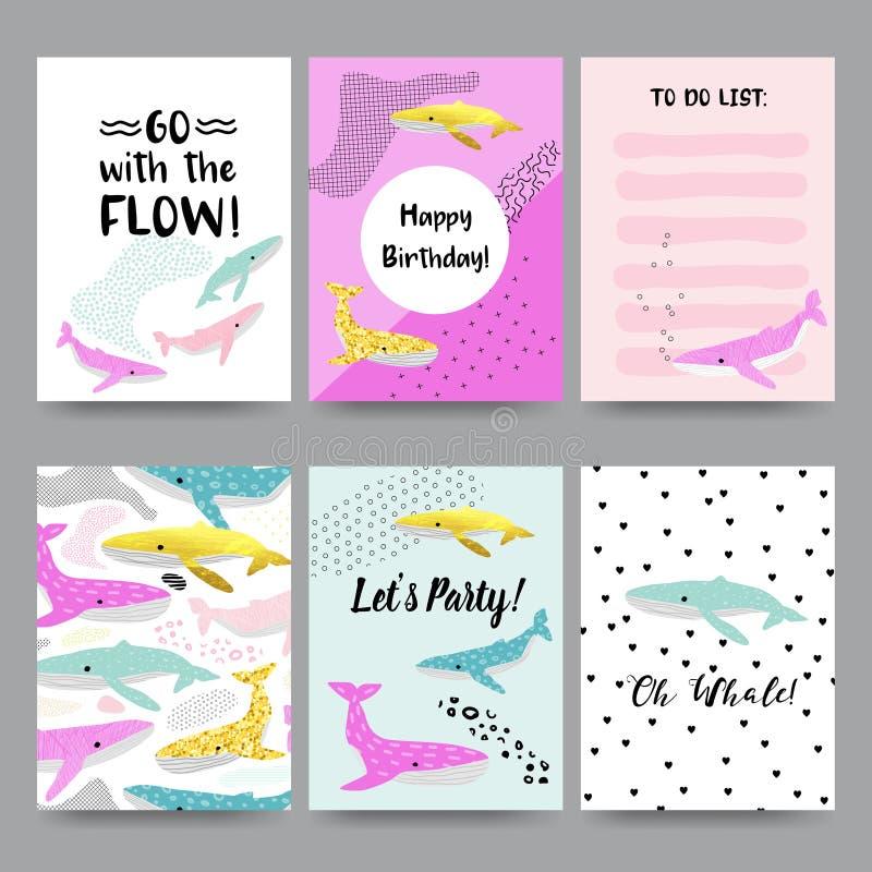 Cartes mignonnes d'enfant avec des baleines Calibres d'invitation de joyeux anniversaire avec les créatures sous-marines Marine B illustration libre de droits