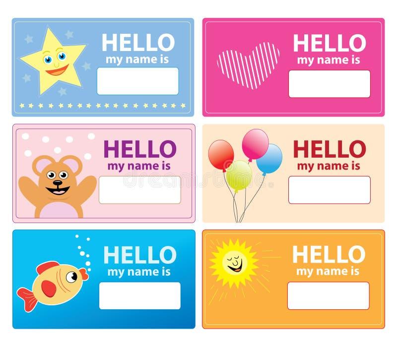 Cartes nommées d'enfants illustration de vecteur