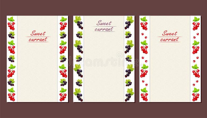 Cartes ou tracts avec un modèle vertical des baies de groseille illustration de vecteur