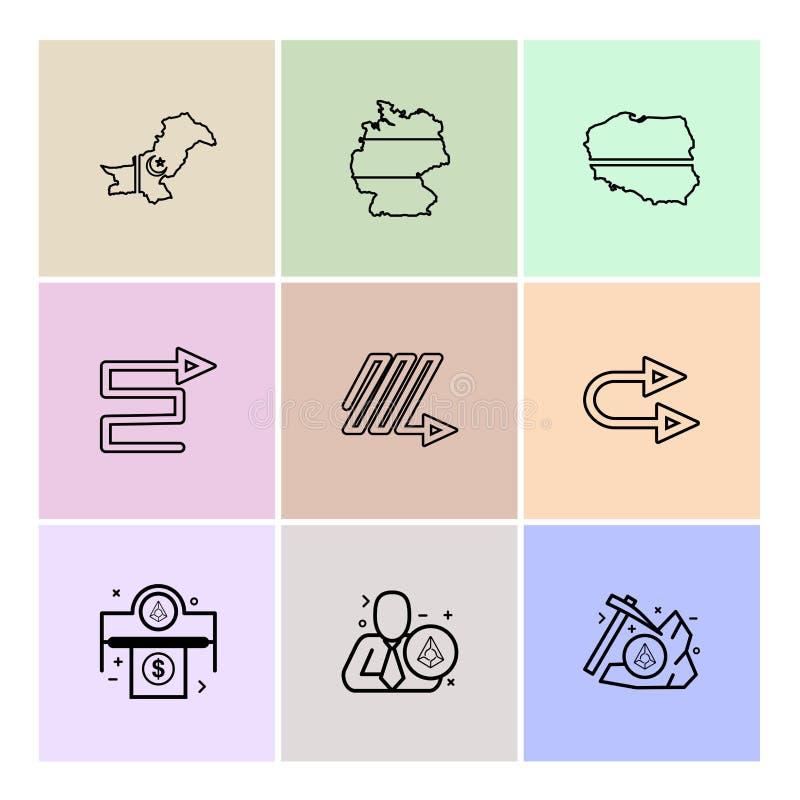 Cartes, pays, Pakistan, flèches, droite, zigzag, tour d'u, illustration de vecteur