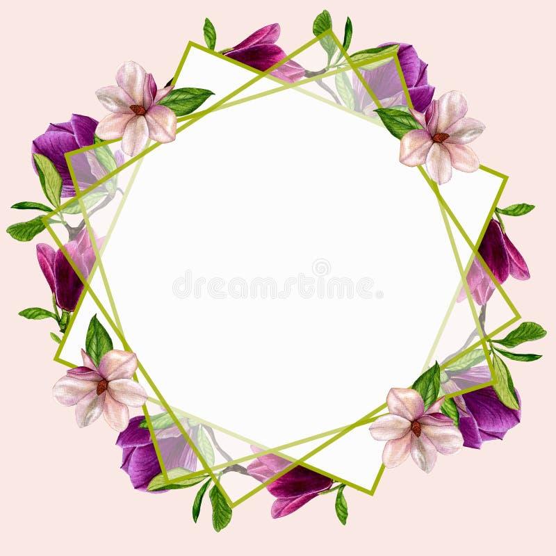 Cartes Postales Avec Des Fleurs De Magnolia Pour Votre Conception Des Invitations Au Mariage ...