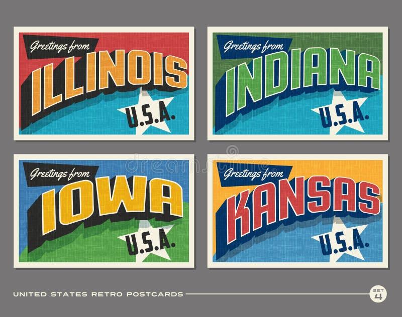 Cartes postales de typographie de vintage des Etats-Unis illustration de vecteur