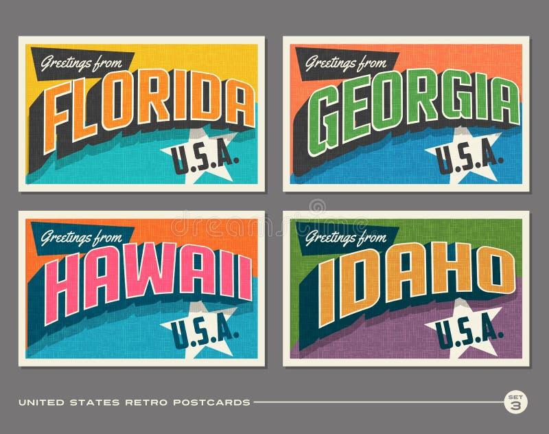 Cartes postales de typographie de vintage des Etats-Unis illustration stock