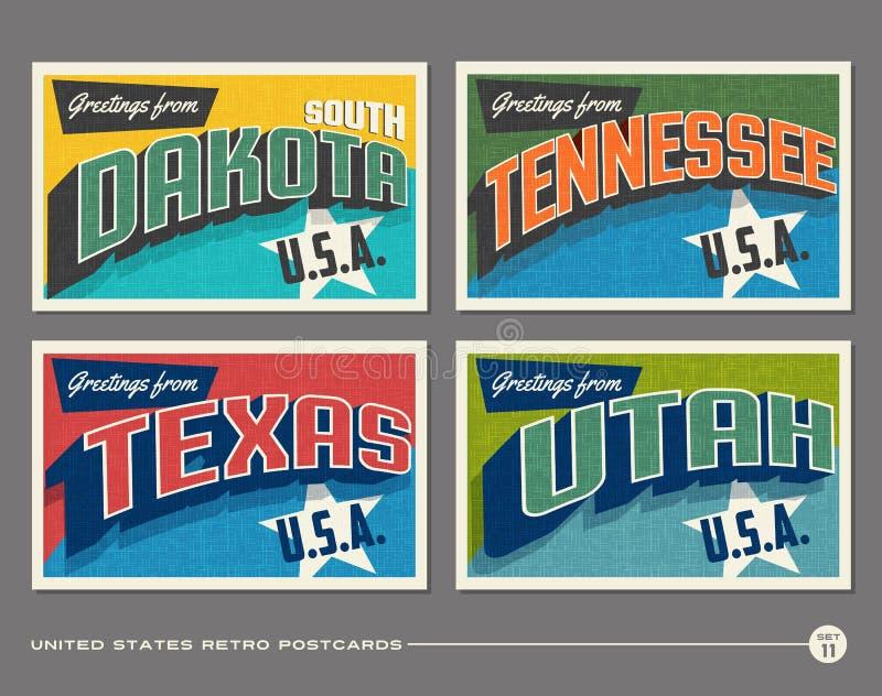 Cartes postales de typographie de vintage des Etats-Unis illustration libre de droits