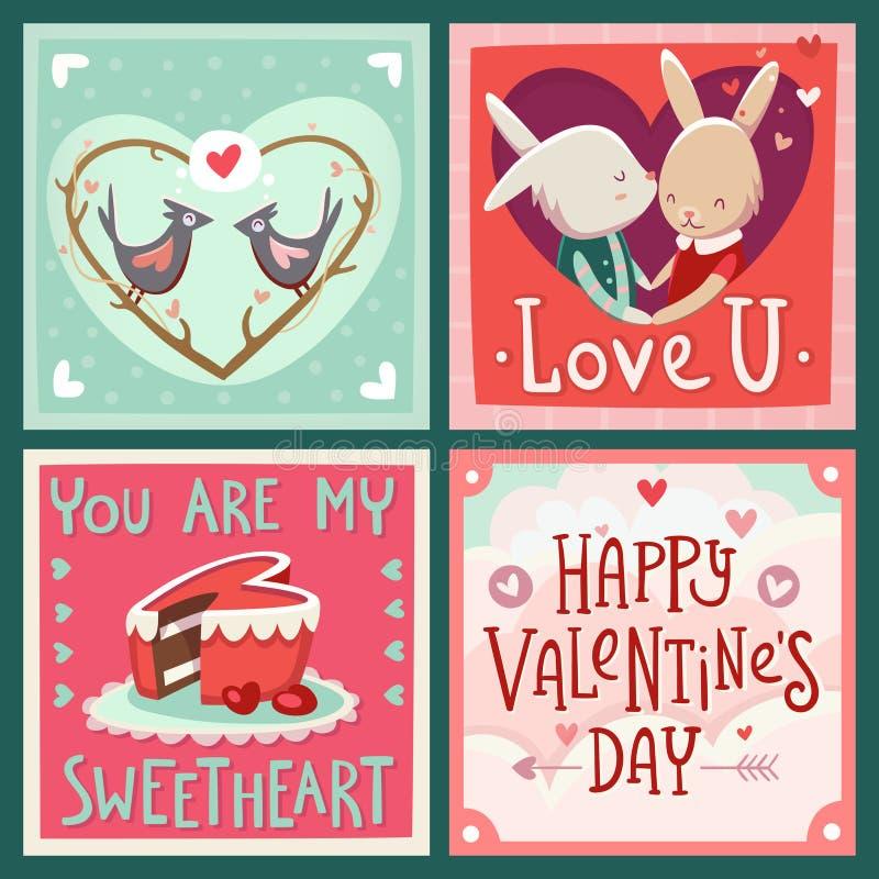 Cartes pour le jour de Valentine illustration libre de droits