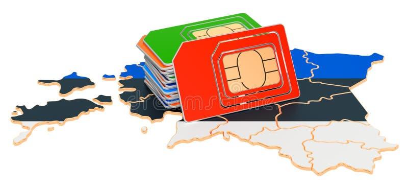 Cartes Sim sur la carte estonienne Communications mobiles, itinérance en Estonie, concept rendu 3D illustration stock