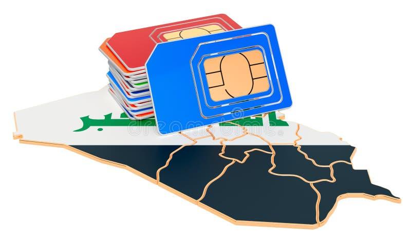 Cartes Sim sur la carte irakienne Communications mobiles, itinérance en Irak, concept rendu 3D illustration stock