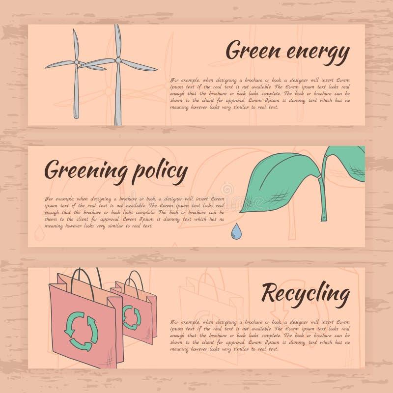 Cartes tirées par la main d'écologie images stock